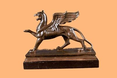 Griffin With Marble Base Bronze Sculpture Statue Gift Decor Collectible