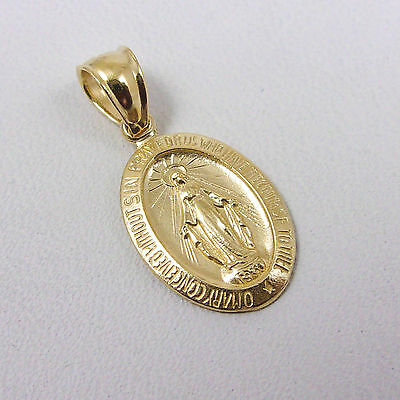 Solid 14K Yellow Gold Miraculous Medal Virgin Mary Pendant, 1.3 grams, Catholic
