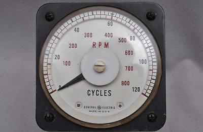 General Electric D-C Ammeter Model 8DB-18A-Y1508 RPM 0-120 Cycles 0-800