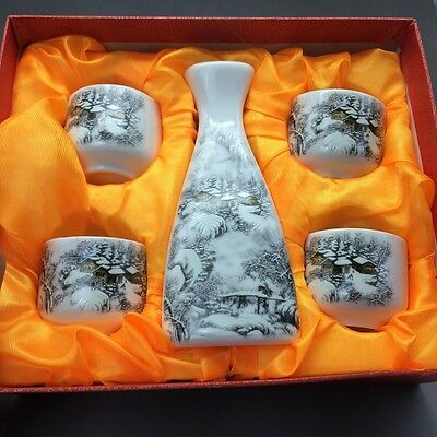Chinese blue and white porcelain cup & four ceramic cup by hand painting4.17tc39