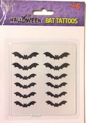 12 Halloween Glittery Bat Tattoos Temporary Fake Face Body Art Spooky Parties