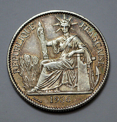 1936 French Indo China 50 Cent Silver Coin, Natural Toning!!