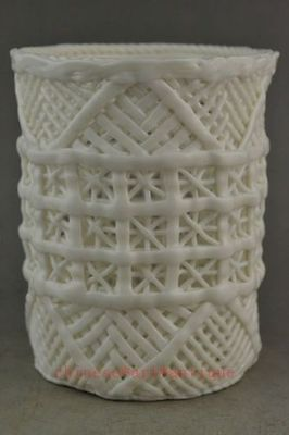 Rare Old Collectible Decoration White Porcelain Hollow Out Usable Brush Pot