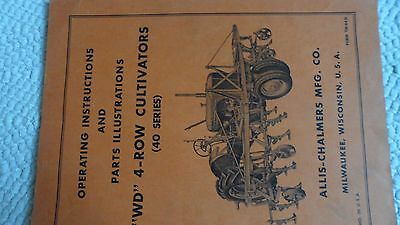 Allis Chalmers Wd Tractor 4 Row Cultivator Operators & Parts  Manual