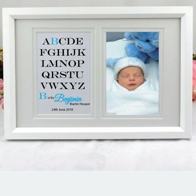 Personalised Baby Boy Typography Frame - Add a Name & Message
