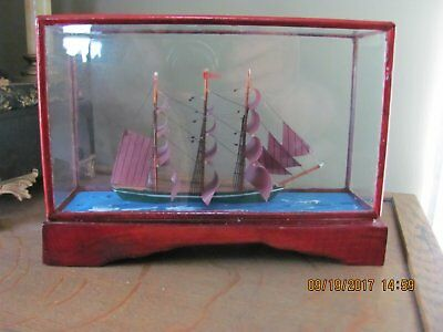Antique Small Ships Model In Glass Case