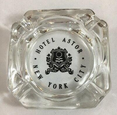 Vintage Original Hotel Astor New York City Ashtray clear glass with crest