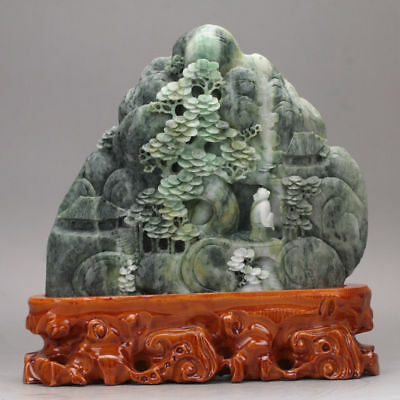 Exquisite 100% Natural DUSHAN Jade Hand Carved Moutain & Man Statue xd26