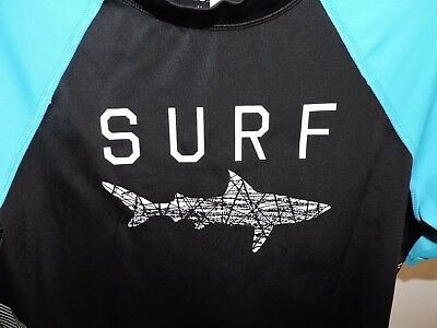 Lands End Rash Guard Swim Shirt Shark Surf Beach Cruise Boys M 10H-12H 10 Husky