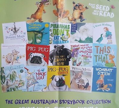 15 Book Set Australian Story Book Collection Carry Case New Children Reading