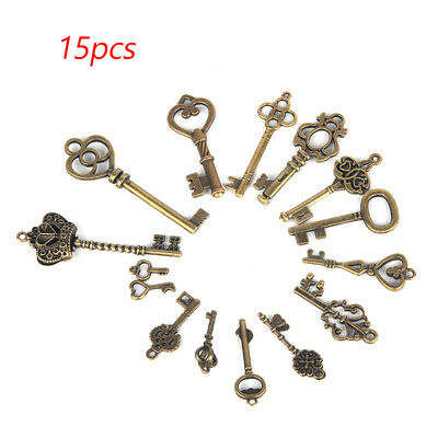 Set of 15 Antique Vintage Old Look Bronze Skeleton Keys Fancy Heart Bow Pendant
