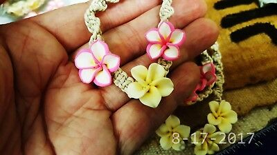 """7"""" inches Plumeria Clay flowers Multi mix Surfer Bracelets Set Lot of 3"""