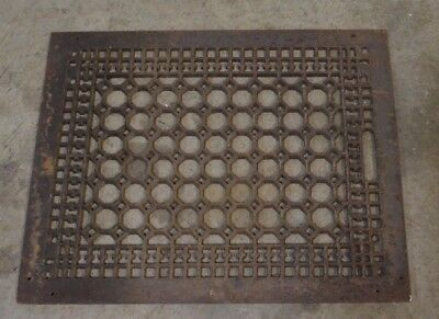 "Antique Ornate Honey Comb Cast Iron Floor Register - 20""x16"""