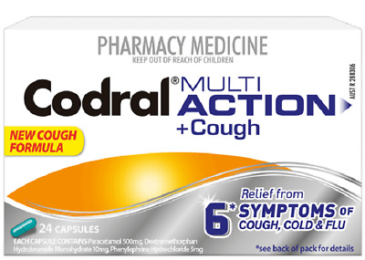 Codral Multi Action + Cough Tablets 24 - 6 Symptoms of Cold and Flu