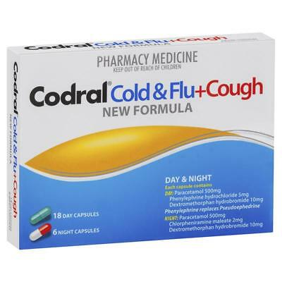 Codral Cold & Flu + Cough Pe Capsules 24 Day and Night capsules