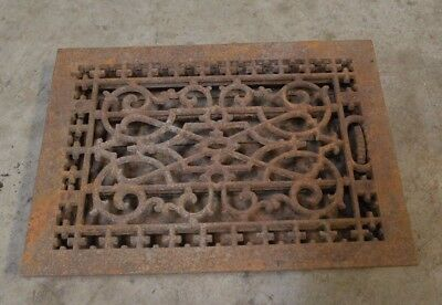 "Antique Ornate  Cast Iron Floor Register with damper- 16""x12"""