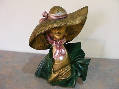 Large Art Deco Style Plaster Bust Display Statue Of A Glamorous Lady