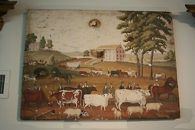 Great Antique Fireboard Early Primitive Folk Art Original Pennsylvania Painting
