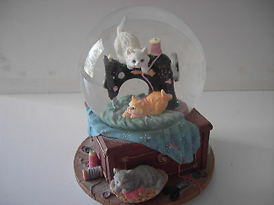 San Francisco Music Box Company Sewing Machine with Cats in Globe