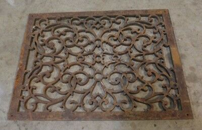 "Antique Ornate Heavy Cast Iron Floor Register  - 22"" x 18"""