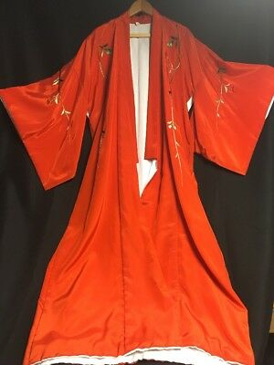High Quality Embroidered Kimono , Red With White Lining
