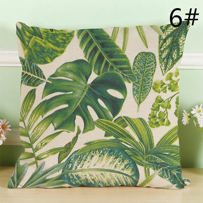 Green Leaves Throw Pillow Cases Plants Printed Linen Cushion Cover Home Decor