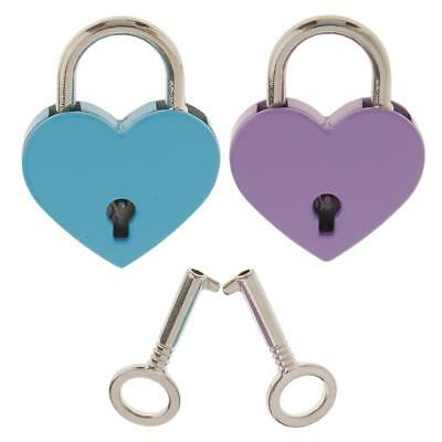 2Pcs Vintage Heart Shape Padlock with Key Tiny Suitcase Unique Craft Lock M