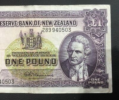 1950s New Zealand One Pound Note Rare