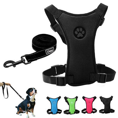 Breathable Air Mesh Pet Dog Car Harness and Leash for Dogs Travel Walking S M L