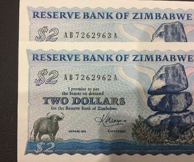 Reserve Bank Of Zimbabwe 2 Dollars Consecutive Bank Note Unc/Aunc