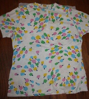 Vintage 1970s Girls' Beeline White Shirt Top Pastel Popsicles Cotton Candy Trees