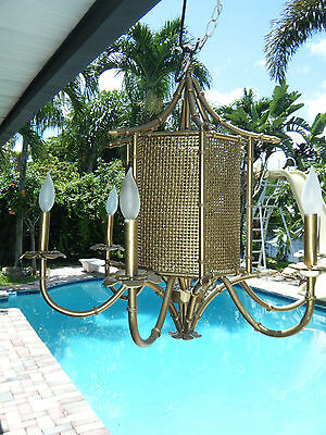 Vintage MCM Wicker Gold Gilt Ming Chinese 6 Arm Chandelier