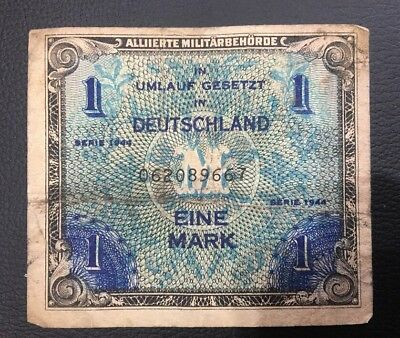 1944 Deutschland Military Currency One Mark Note  Rare
