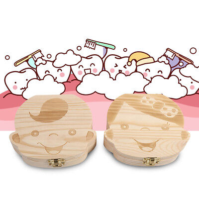 Kids Boy Girl Tooth Box Organizer For Baby Save Milk Teeth Wood Storage Box Gift