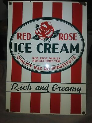 Vintage Porcelain Red Rose Ice Cream Sign...rare!!