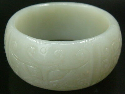 Antique Old Chinese Celadon Nephrite Jade Statue /Pendant *Ping ring*