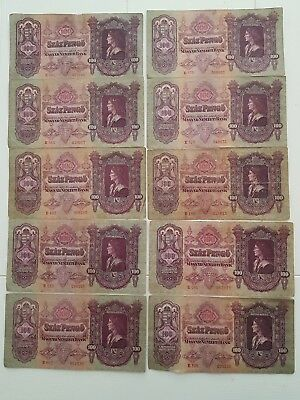10 x Hungary 1930 100 pengos Buy It Now gets extra note (world/lot) Read Descrip