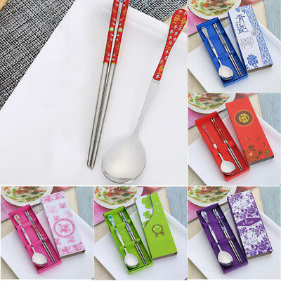 UK Korean Stainless Steel Chopsticks and Spoon Set Gift With Box 18.2cm/16cm