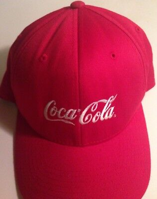 Coca-Cola Red White Letters Hat Baseball Cap FlexFit Small Med Fitted GUC Coke
