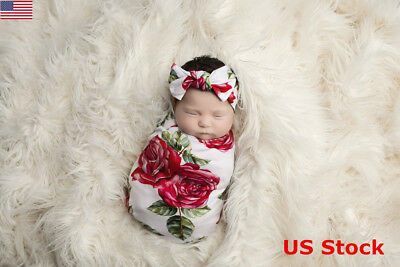 Newborn Baby Girls Kids Wrap Cloth Headband Photo Photography Prop Blanket Set