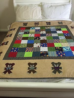 """Handmade quilt size 60"""" x 60"""" (little bear borders) with applique"""