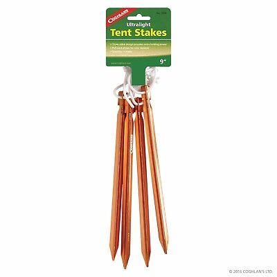 Coghlans Ultralight Tent Stakes Gear Pegs Notch Aluminum Indestructible COG1000