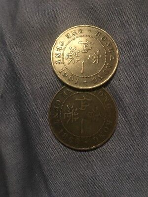 HONG KONG 1 CENT 1866 And 1901 See Picture