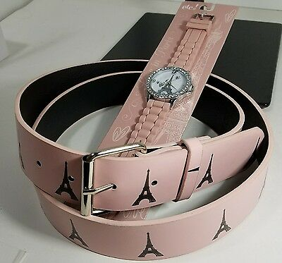 Eiffel Tower Watch & Belt  size XL Pink rue21 ETC!  Paris France FREE SHIPPING!