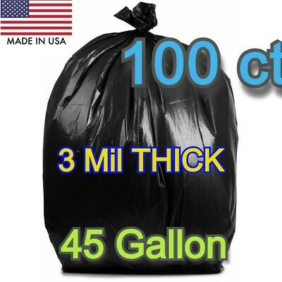 Black 100*45 Gallon Commercial Heavy Duty  Garbage Trash Yard Bags