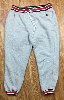 Vintage Champion Athletic Mens Striped Gray Draw String Sweat Pants Sz Small