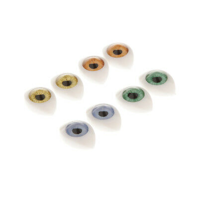8pcs Oval Flat Back Glass Eyes 7mm Iris for Porcelain BJD SD Dolls Mask DIY