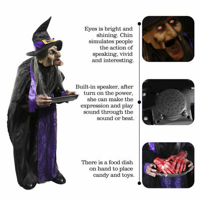 Animated Standing Witch Halloween Haunted House Life Size Talking Prop Decor US