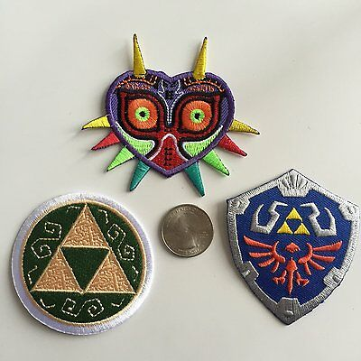 Triple Set Legend of Zelda Applique - Hylian Shield, Majora's Mask, Triforce New