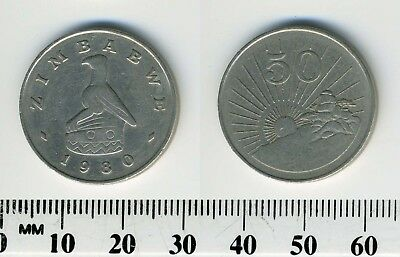 Zimbabwe 1980 - 50 Cents Copper-Nickel Coin - Bird Statue - Radiant sun rising